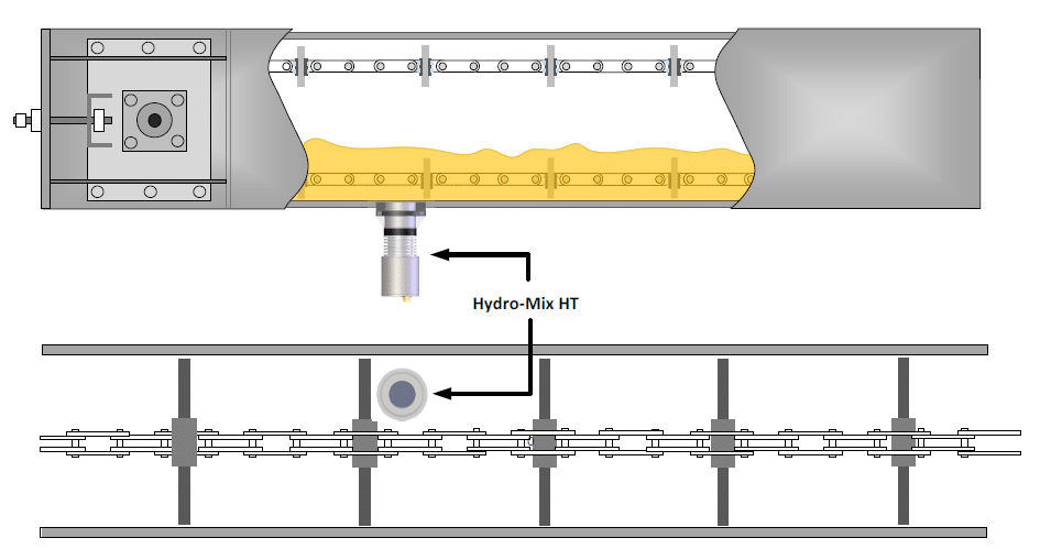 Hydronix Hydro-Mix HT installed in a rapeseed oil processing plant on a conveyor.